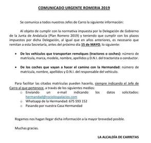 Comunicado Urgente Romería 2019