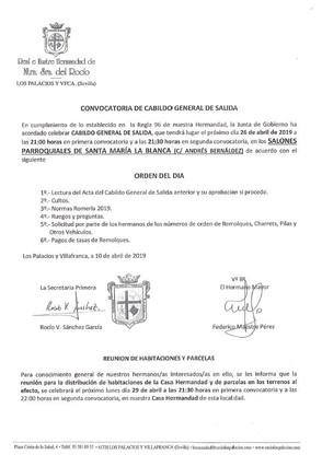 Convocatoria de Cabildo General de Salida 2019