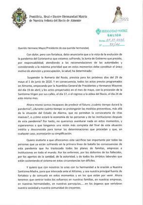 Suspensión Romería 2020