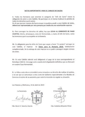 Recuerda, Mañana Convocatoria de Cabildo General de Salida 2019