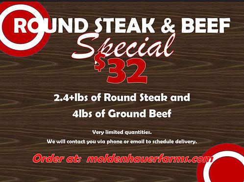Round steak & beef