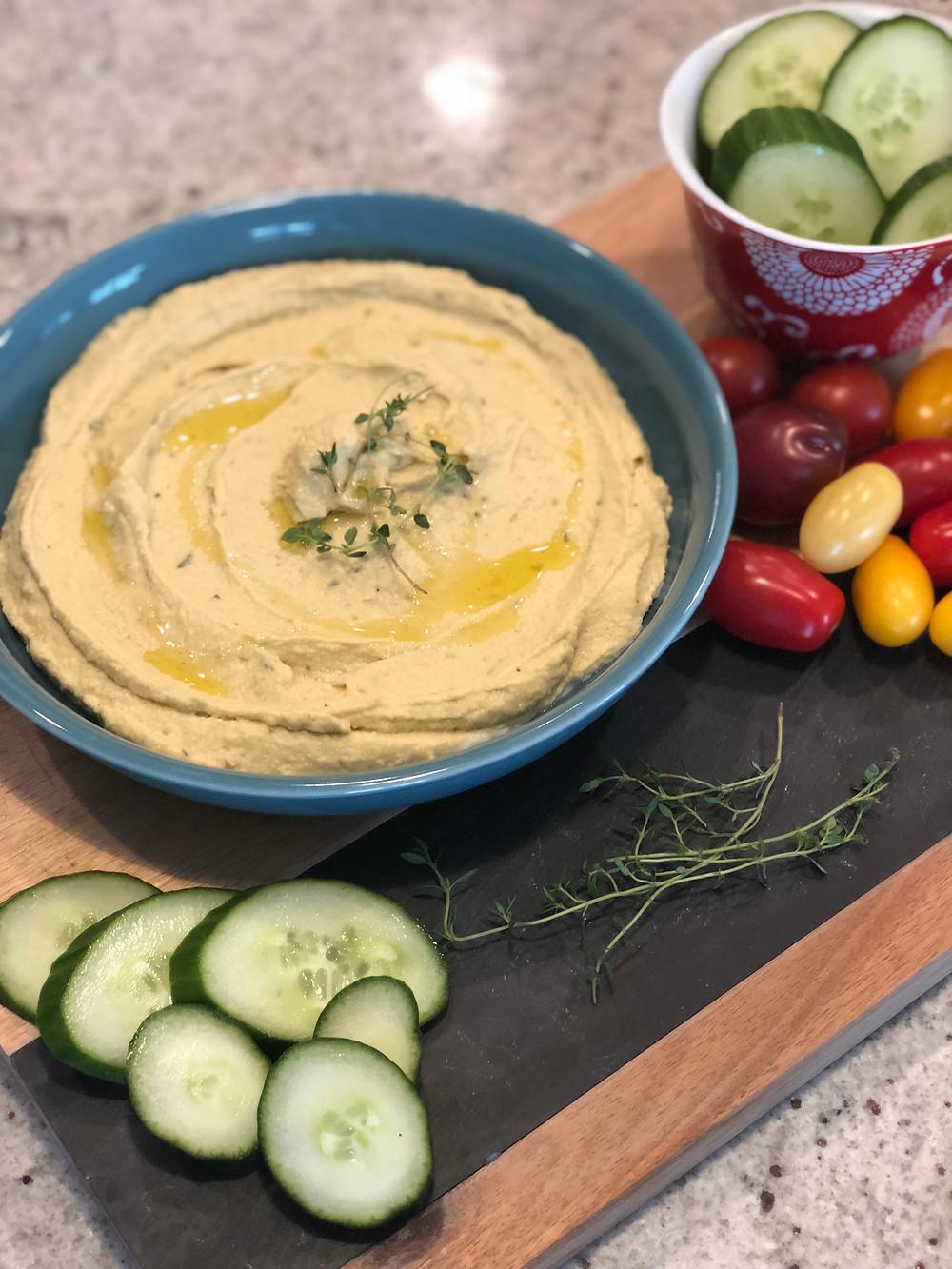 Avocado Hummus, Cucumber, Tomatoes