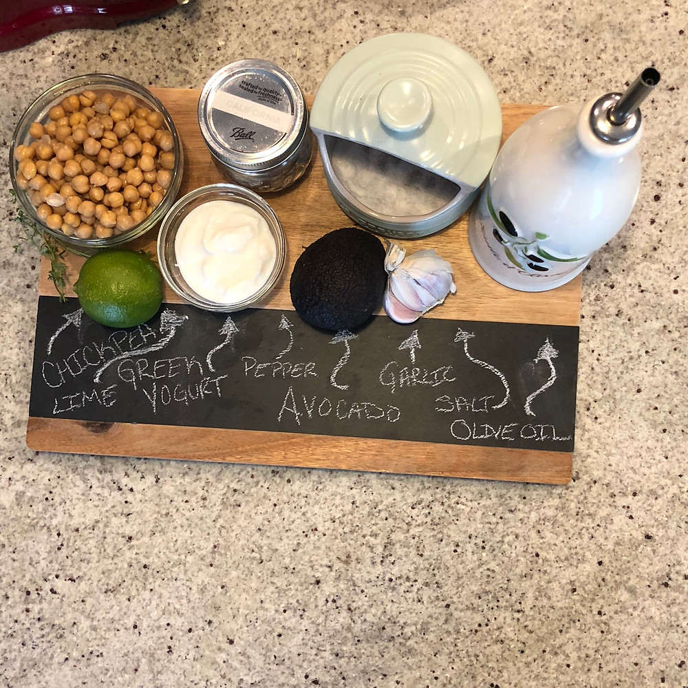 chickpea, garbanzo bean, lime, salt, olive oil, avocado, garlic, pepper, Avocado Hummus