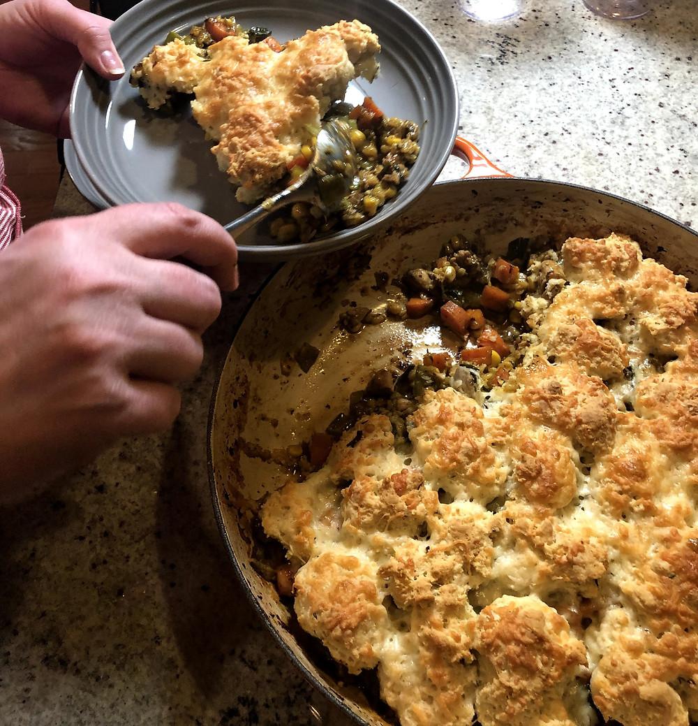 chicken pot pie recipe, chicken pot pie, williams sonoma, le creuset