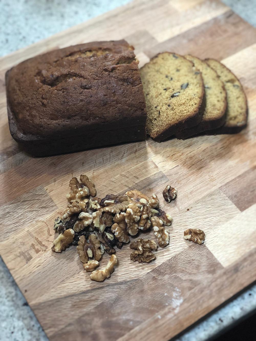 Cantaloupe Bread Recipe on wooden cutting board