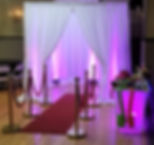 White Curtain Photo Booth-with Red Carpe