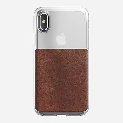 Nomad Genuine Horween Leather Clear Case for iPhone X (Brown)