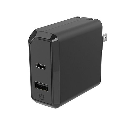 Scosche PowerVolt Power Delivery USB-C/USB-A Dual Fast Wall Charger 30W (Black)