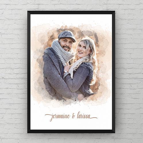 AQUARELLEFFECT SCRIPT POSTER | Baby/Paar/Hochzeit/Portrait