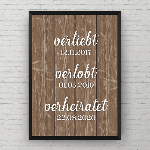 IN LOVE, ENGAGED, MARRIED POSTER | braun od. weiß