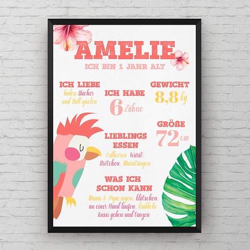 ONE YEAR OLD PINK JUNGLE POSTER