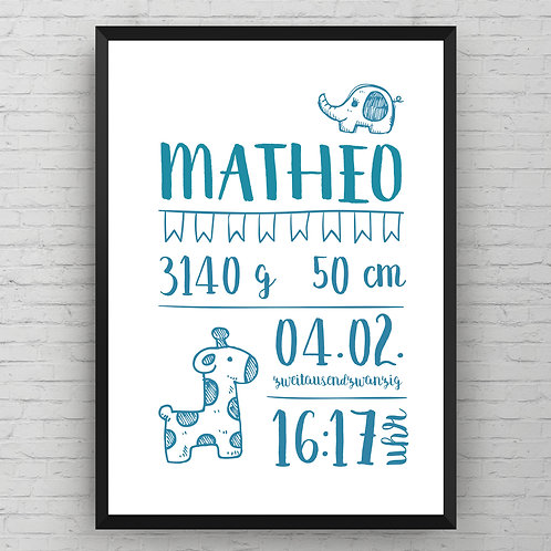 BIRTH POSTER ANIMAL ICON | blau od. rosa