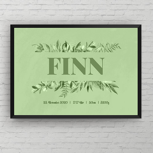 BIRTH POSTER GREEN FLOWER