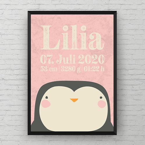 BIRTH POSTER SWEET PENGUIN | rosa od. blau
