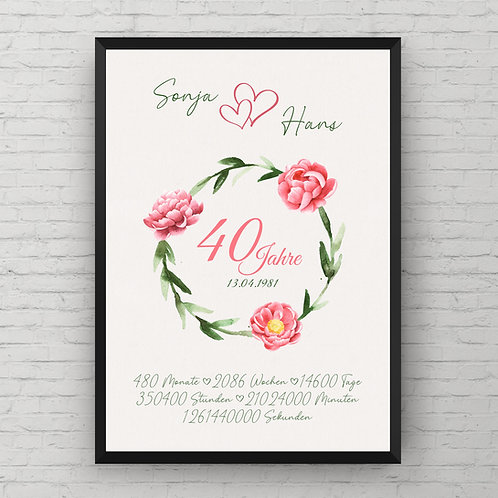 WEDDING ANNIVERSARY FLOWER POSTER