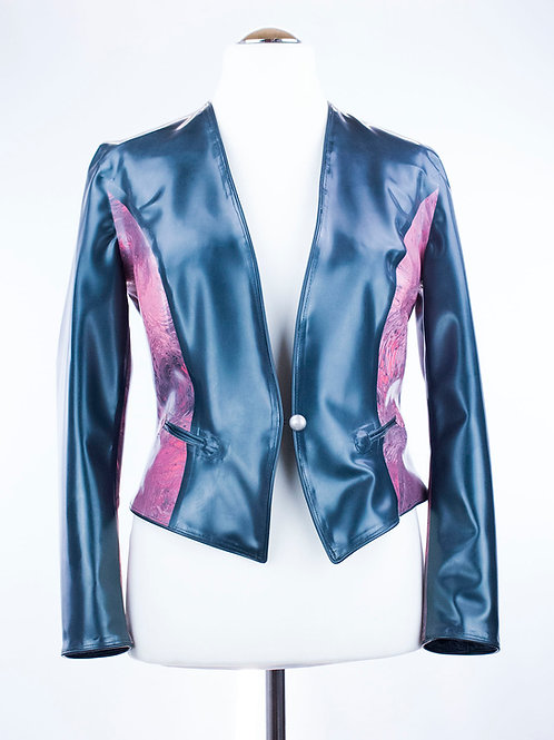 "Latex Spencerjacke ""Memoire""Petrol"