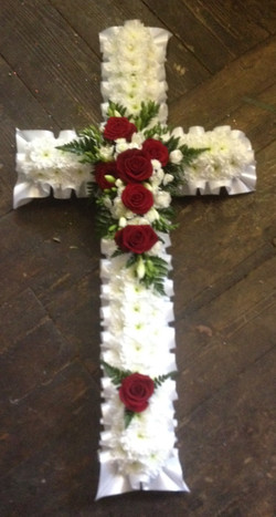 funeral flowers massed cross