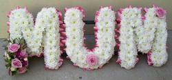 Funeral lettering massed MUM