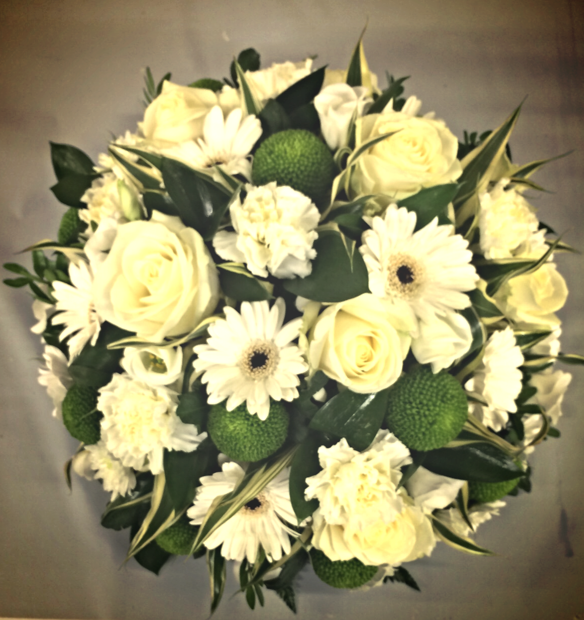 funeral cream and green posy