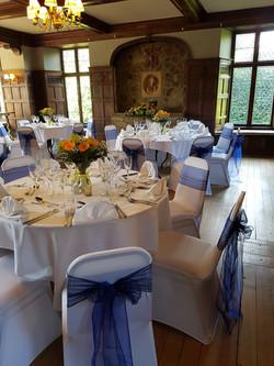 Sunny and blue wedding decor