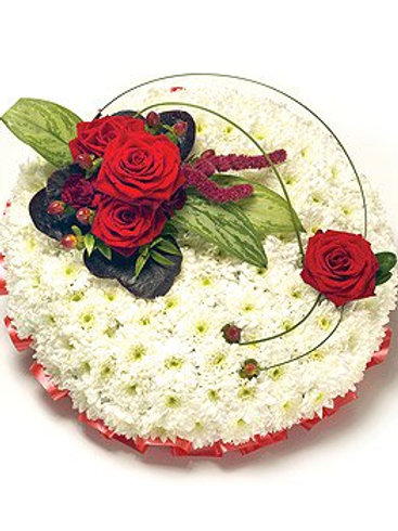 Red & white based posy