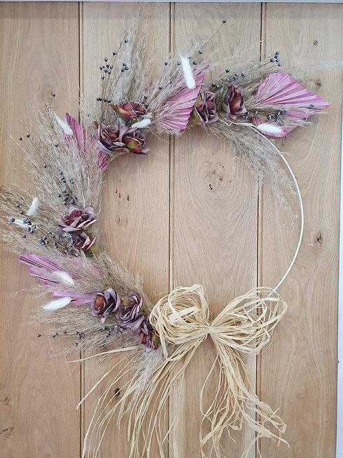 Boho dried floral hoop Lavender & pink