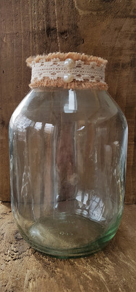 Original vintage pickle jars- decorated hemp & lace
