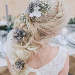 Hair flowers misty grey