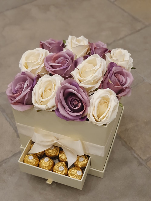 Lavender & ivory faux rose gift box