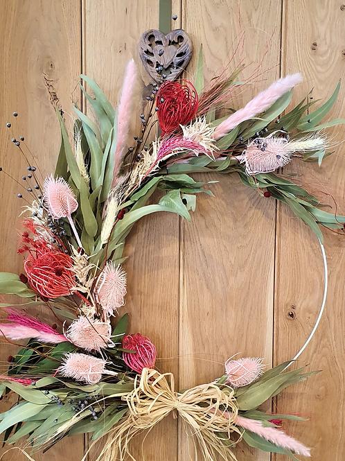 Teasel me pink dried floral hoop