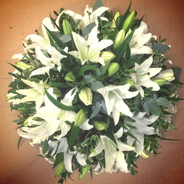 funeral white lily posy