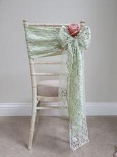 Satin & Lace Double Sash/Silk Flower