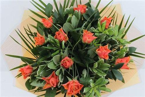 Orange Roses Handtied