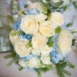 Blues and ivory wedding posy