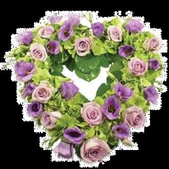 Lilac & green open heart