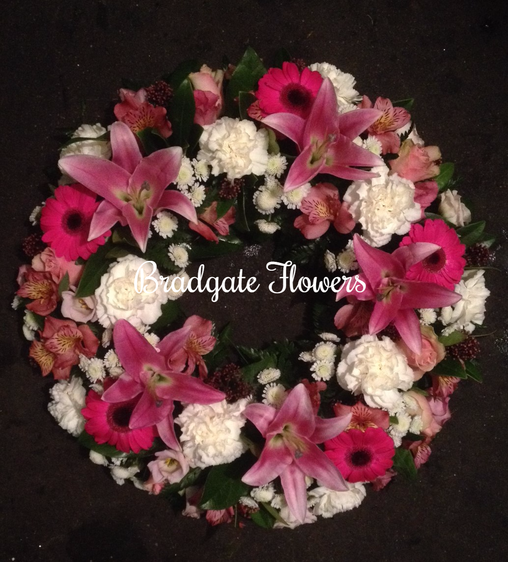 traditional wreath pinks and white