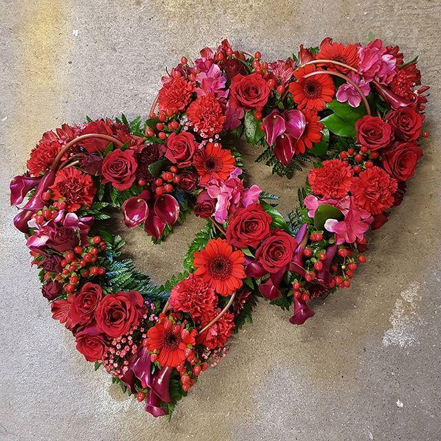 Double open heart funeral tribute