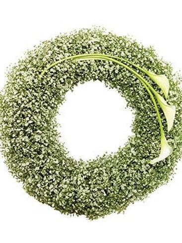 Gypsophilia & calla lily wreath