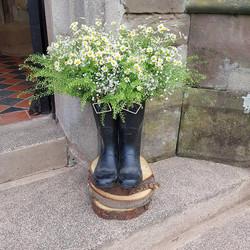 Vintage welly flowers