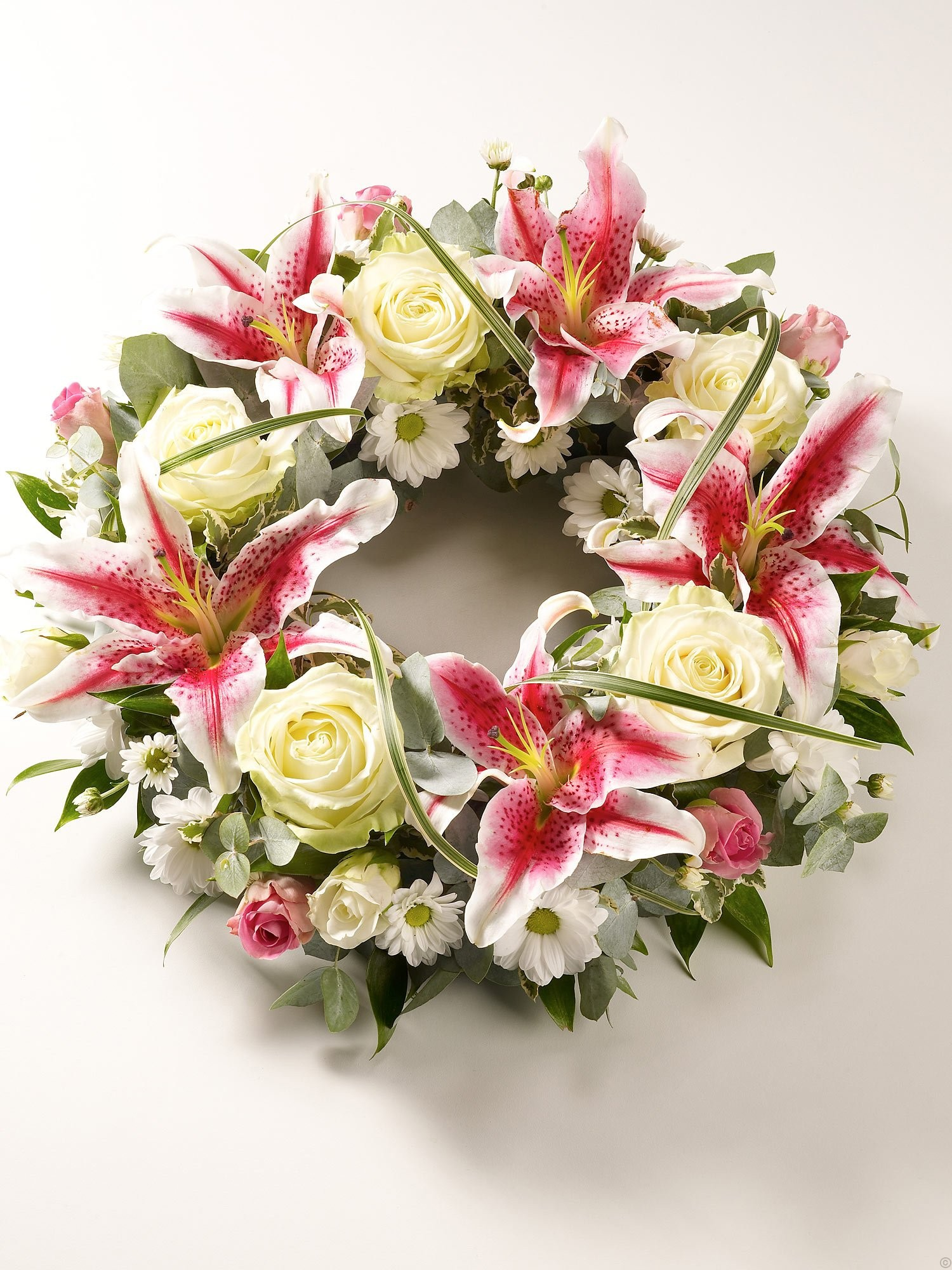 hot pink and cream wreath