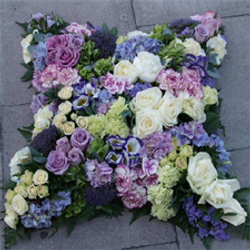 grouped loose wreath, purples, lilac
