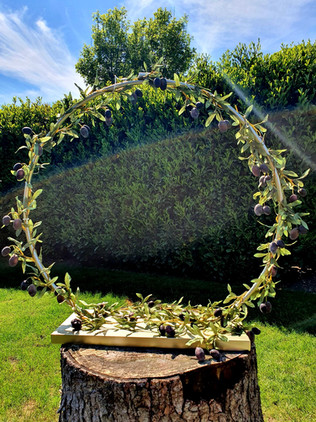 Cake Hoop Stand with Olive Garland