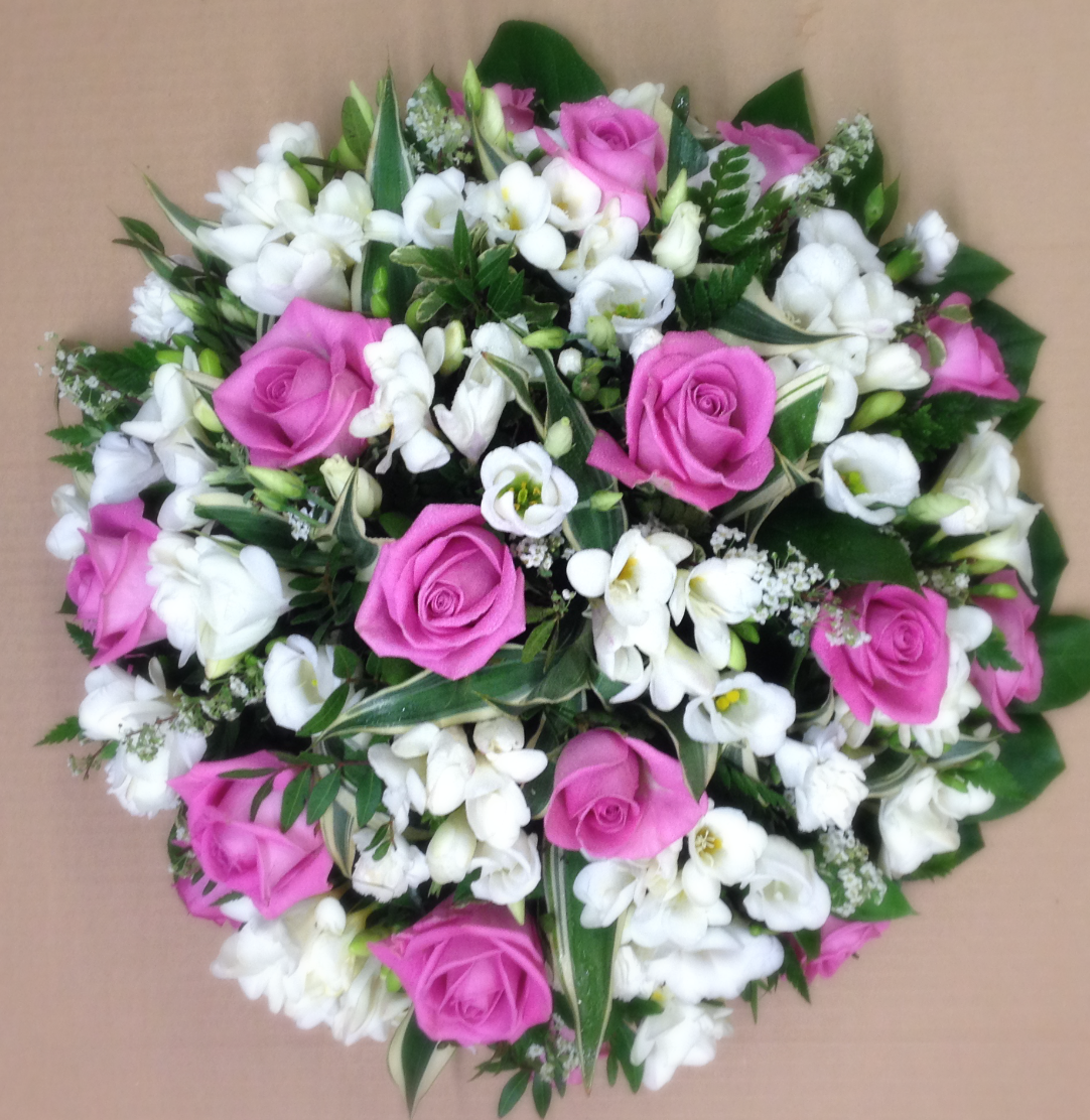 funeral pink and white posy