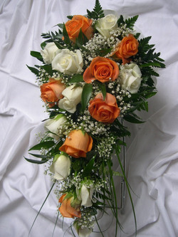 Orange and cream rose shower