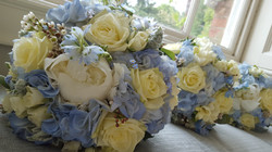 Blue and ivory wedding bouquets