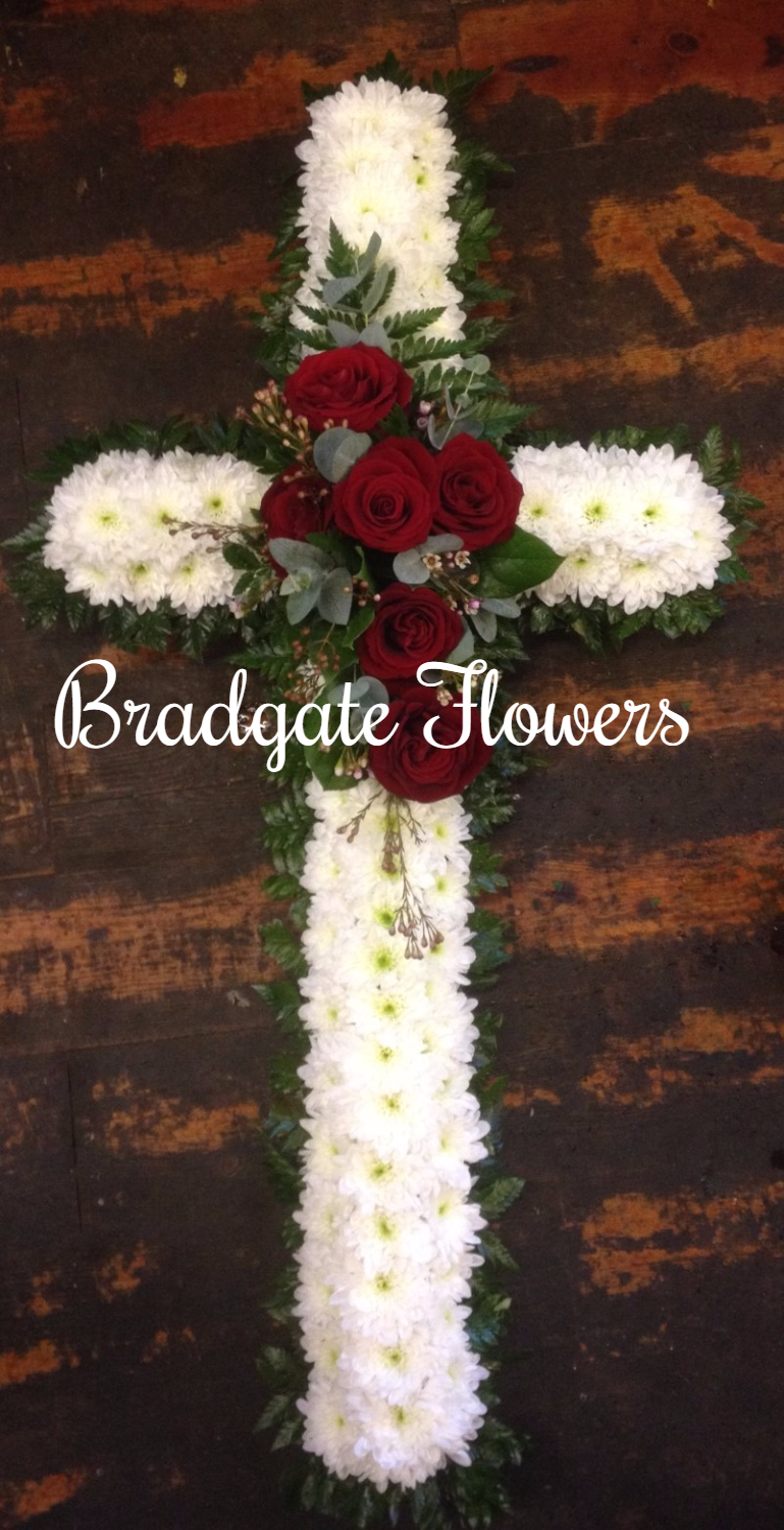 funeral flowers  red white cross