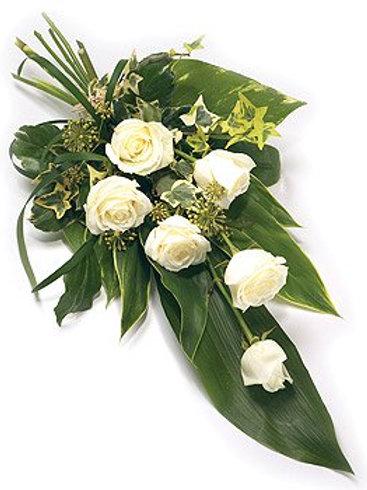 6 White roses sheaf