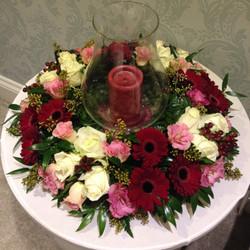 Hurricane lamp flower ring