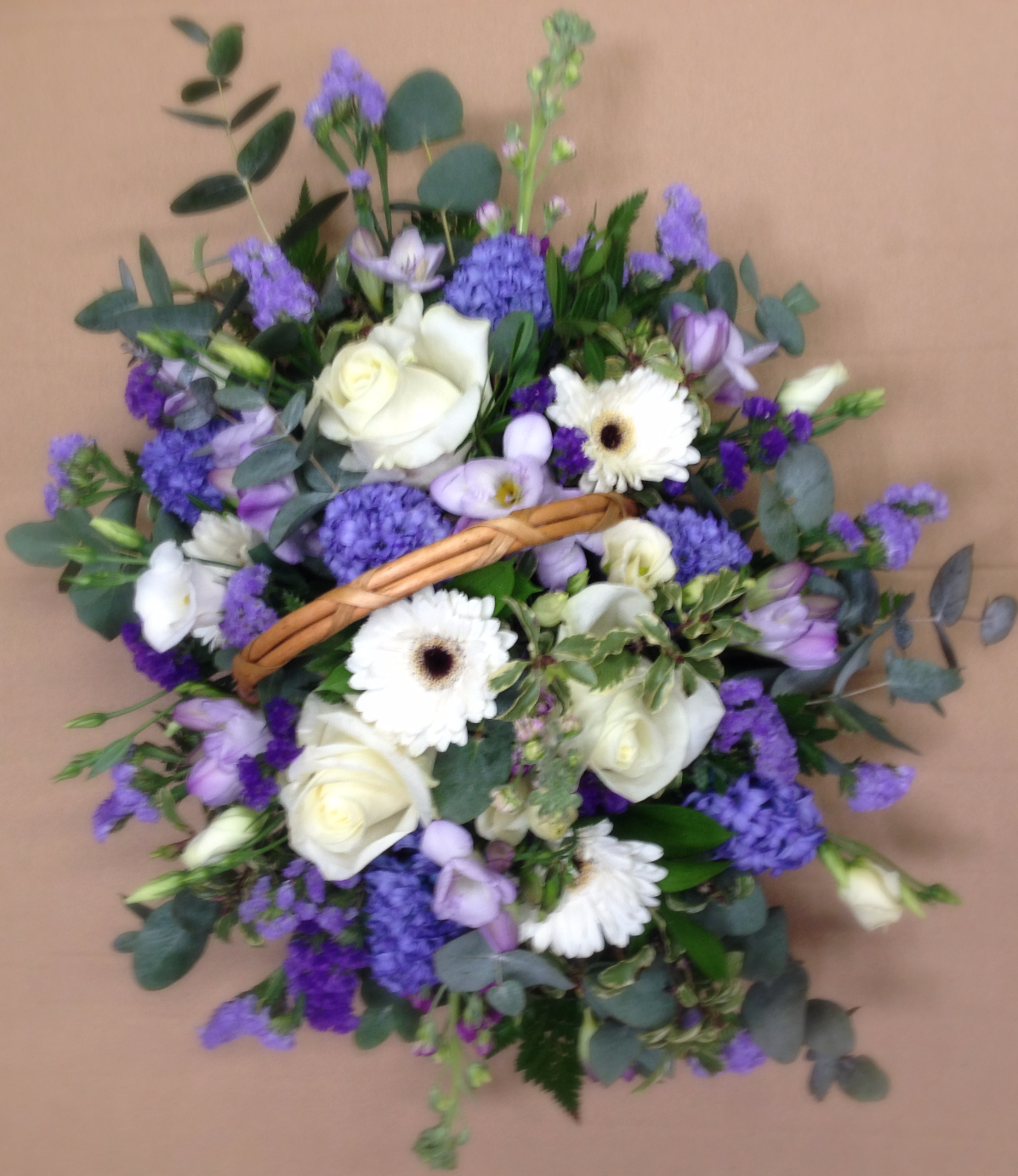 funeral blue and white sympathy bask