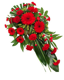 Funeral red single ended spray